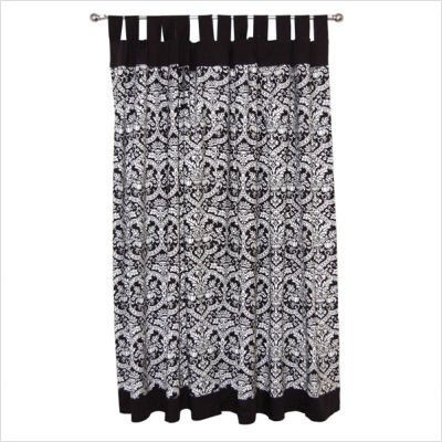 Tadpoles Damask Tab Top Curtain Panel Set in Black / White