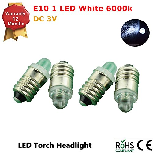 4 x E10 LED bulb Petzl Head Torch Headlamp Zoom Duo 0.1W 3V - White (Zoom Energy Pack compare prices)