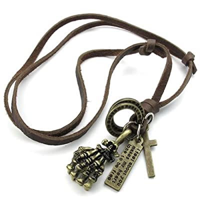 KONOV Jewelry Mens Vintage Gothic Cross Skull Skeleton Hand Ring Pendant Adjustable Leather Necklace Chain, Brown from Pin Zhen