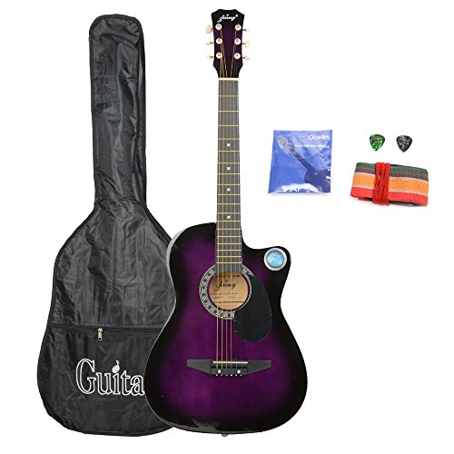 Basswood Cutaway Acoustic Guitar With Bag , Strap And Pick ,Purple