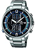 Edifice Men's Quartz Watch with Black Dial Analogue Display and Silver Stainless Steel Bracelet EFR-533D-1AVEF