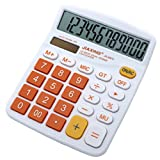 Civetta Office Desktop Calculator 12 Digits Large Plastic Buttons Dual Power Solar Electronic Calculator(Orange)