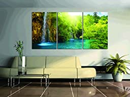 Spirit Up Art Large Waterfall Picture Painting on Canvas Print Stretched and Framed, Modern Home Decorations Wall Art set of 3 Each is 40*60cm #03-JD-91132