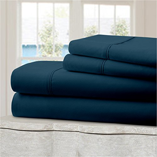 Ideal Linens Bed Sheet Set - Hotel Collection Double Brushed Microfiber Bedding - Wrinkle and Fade Resistant - Luxury, Comfortable, Breathable and Soft - 4 Piece (King, Royal Blue) (Royal Hotel Collection Bedding compare prices)