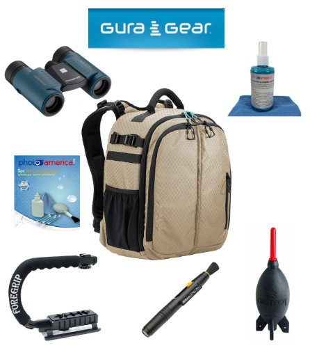 Gura Gear Bataflae 18L Backpack (Tan) For Sony Slt A99/A33/A55/A35/A65/A77/A57/A37/A58 + Foregrip + Nikon Lens Pen Cleaning System + Giotto'S Air Blower + Cleaning Kit + Lcd Screen Protectors + Olympus Waterproof Binoculars