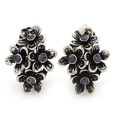 Burn Silver Violet Crystal 'Floral' Clip-On Earrings - 2.5cm Length