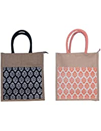 ABV Jute Lunch Bag, Pack Of 2 Jute Bag Black And Peach Color