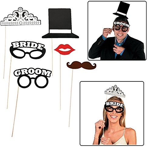 Fun Express Bride and Groom Wedding Reception Photo Booth Stick Props - 6 Pieces