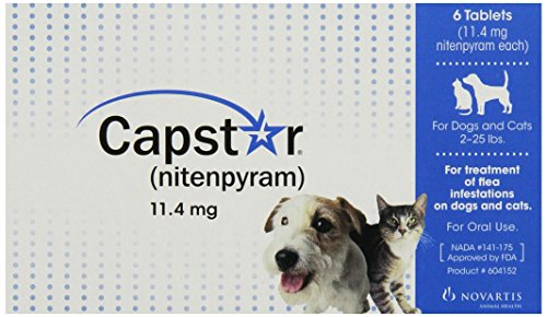 Capstar Flea Tablets for Dogs and Cats, 6 Count, 2-25 lbs, Blue (Capstar Flea Control compare prices)