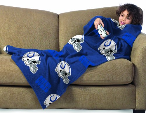 Indianapolis Colts Youth Comfy Throw Blanket With Sleeves front-882080