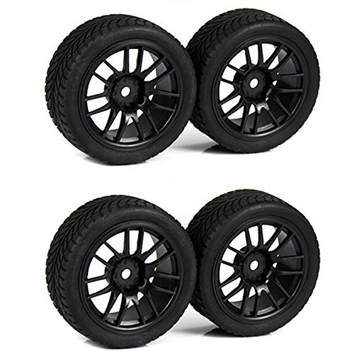 SkyQ 1:10 RC On Road Car Rubber Tires and Wheel Rims 14 Spoke Black for HSP HPI Pack of 4 - 1