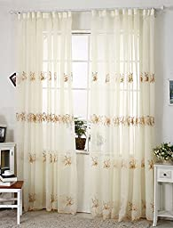 Droyee Polyester Sheer Window Curtain,Embroidered Voile Window Panel,Window Screening,Wrinkle Free(2 Panels,Light Coffee,52*108Inch)