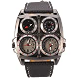 Oulm Men's Large Watch. Dual Time Zones, Compass, Thermometer - Big 5cm Multi-Function Dial - Long 16-22cm Black Genuine Leather Strap (Square Black)