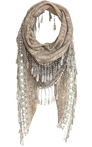 KMystic Lace Triangle Sheer Scarf (Winter Oatmeal)