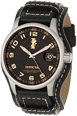 Invicta Men's 12971 I-Force Black Textured Dial Black Leather Watch