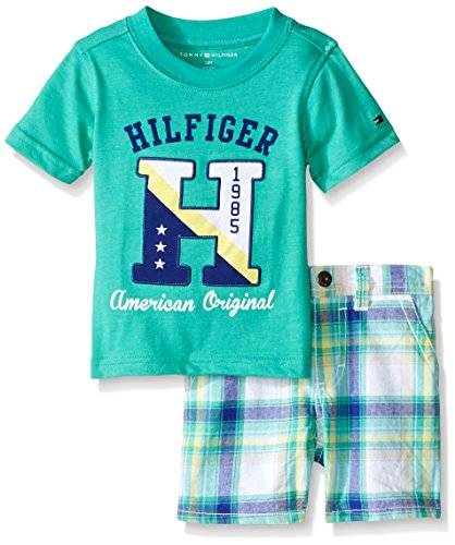 Tommy Hilfiger Baby-Boys Heathered Jersey Tee & Woven Yarn Dyed Plaid Shorts, Green, 12 Months