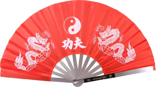 BladesUSA 2510-CRD Kung Fu Fighting Fan, Metal Frame, Red/White, 14-3/4-Inch Length, 27-1/4-Inch Open