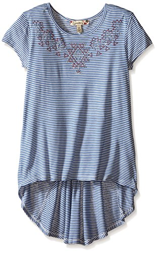 Speechless Big Girls Top with Back Inset Hi Lo Hem, Denim/Ivory, Medium