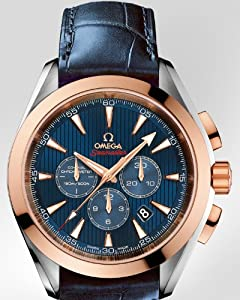 Omega Seamaster Aqua Terra Olympic Blue Dial Blue Leather Mens Watch 52223445003001