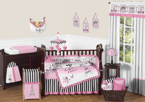 Pink, Black And White Stripe Paris Baby Bedding 9 Piece French Eifell Tower Crib Set By Sweet Jojo Designs