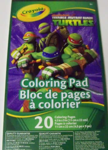 "Teenage Mutant Ninja Turtles Coloring Pad by Crayola ~ Heroes in a Half Shell (20 pages; 4.5"" x 9"") - 1"
