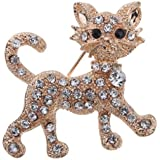 Yazilind Jewelry Pretty Gold Plated Full Shining Crystal Cat Brooches and Pins Wedding for Women Gift