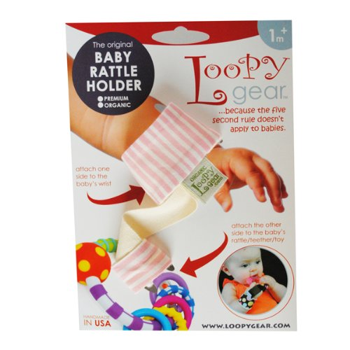 Baby Rattle Holder Pink Straws Loopy
