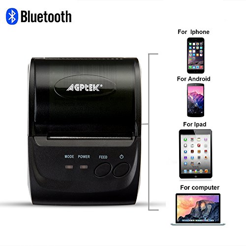 Thermal Receipt Printer,Impact Bluetooth/USB Wireless Mobile POS Receipt Printer for PC,Android,Iphone,Ipad,(Drive Software Needed),58mm ,Power by Rechargeable Battery (Mini Ipad Printer compare prices)