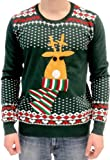 Ugly Christmas Sweater Rudolph Flashing Light Red Nose Reindeer Adult Green Sweater