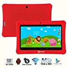 * Mother's Day Sale * Contixo 7 Inch Quad Core Android 4.4 Kids Tablet, HD Display 1024x600, 1GB RAM, 8GB Storage, Dual Cameras, Wi-Fi, Kids Place App & Google Play Store Pre-installed, 2015 May Edition, Kid-Proof Case (Red)
