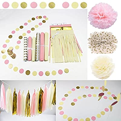 Qian's Party 20 pcs Pink Cream Glitter Gold Tissue Paper Pom Pom Tissue Pom Pom Paper Tassel Garland Polka Circle Dot Paper Garland for Baby Shower Decoration Wedding Bridal Shower Pink Gold Birthday