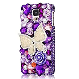 Samsung Galaxy S5 mini Case, Sense-TE Luxurious Crystal 3D Handmade Sparkle Glitter Diamond Rhinestone Ultra-Thin Clear Cover with Retro Bowknot Anti Dust Plug - Butterfly Flowers / Purple