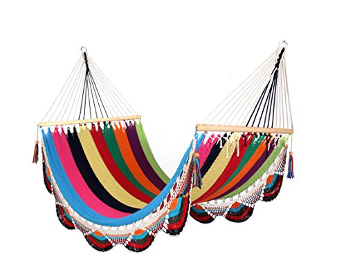 Artisan Handwoven Hammock 13 Ft 2 Person 500 Lbs (Multicolor)