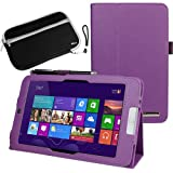 BIRUGEAR Purple SlimBook Leather Folio Stand Case Cover with Sleeve Case for Acer Iconia W3-810 - 8.1 inch Windows 8 Tablet