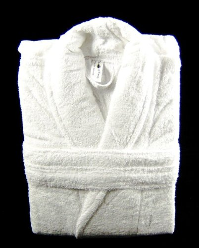 450 GSM Plain White 100% Cotton Terry Towelling Bathrobe + A FREE PAIR OF SLIPPERS