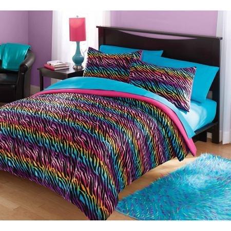 Your Zone Mink Rainbow Zebra Bedding Comforter Set - FULL/QUEEN (Zebra Full Bedding compare prices)