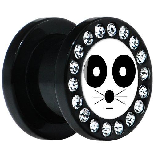 00 Gauge Black Acrylic White Black Eye Cat Face Gem Screw Fit Plug