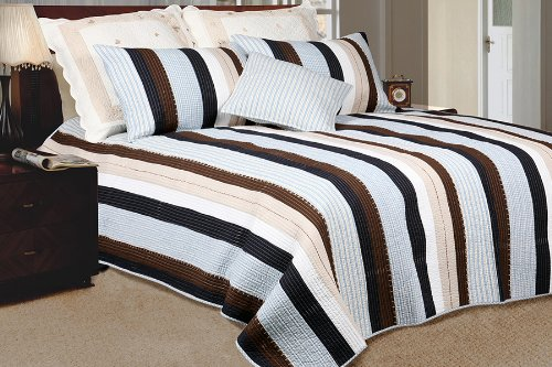 [Nathan] 100% Cotton 3PC Vermicelli-Quilted Striped Patchwork Quilt Set (King Size)
