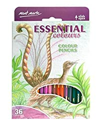 Mont Marte Colour Pencils 36pce - Essential Colours Great Beginners Set for Sketching and Drawing