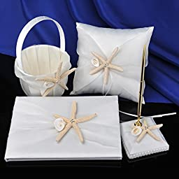 Remedios Beach Wedding Ring Pillow Flower Basket Guest Book and Pen Set with Starfish Details, Ivory
