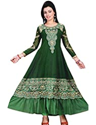 Exotic India Anarkali Flared Kameez Suit With Metallic-Thread Embroidery