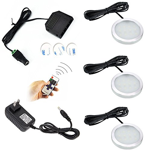 Dimmable LED Under Cabinet Lights Aiboo 3 Lamps Kit with RF Remote Control for Home Kitchen Counter Lighting (Daylight 5000K) (Dimmable Led Puck Lights compare prices)