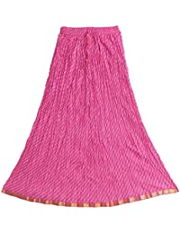 DollsofIndia White Print On Pink Cotton Long Skirt - Length 38.5 Inches - Magenta