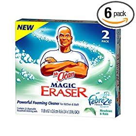 Mr. Clean Magic Eraser Foaming Cleaner Cleaning Pads, Febreze Fresh Scent Meadows & Rain, 2-Count Boxes (Pack of 6)