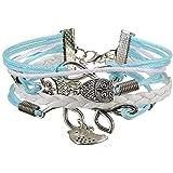 Multi Layered Retro Infinity Handmade Woven Braid Love Owl Bracelet Bangle Gift