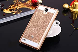 Xiaomi Redmi Note prime Hard back glitter cover Golden by ROKAYA