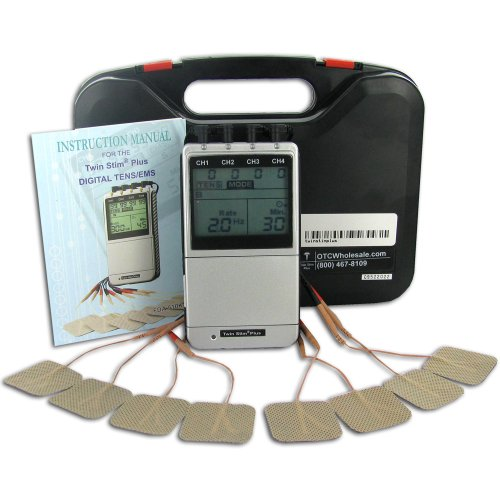 Pain Management TENS/Muscle Stimulator Combo Unit, Quad Channel, 6 Modes, Fully Digital, Model Twin-Stim Plus 2nd Edition