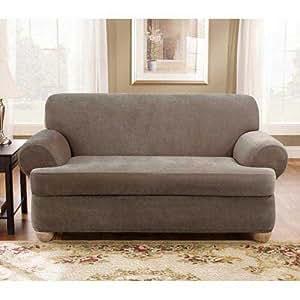 Amazon.com - Taupe Stretch Pique 2 Piece T Cushion ...