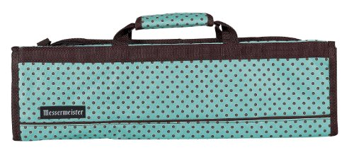 Messermeister 8-Pocket Padded Knife Roll, Light Blue With Brown Dots