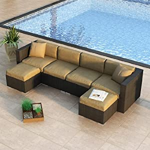 Urbana 6 Piece Wicker Outdoor Sectional Sofa Set with Sunbrella Heather Beige (5476-0000) Cushions by Harmonia Living